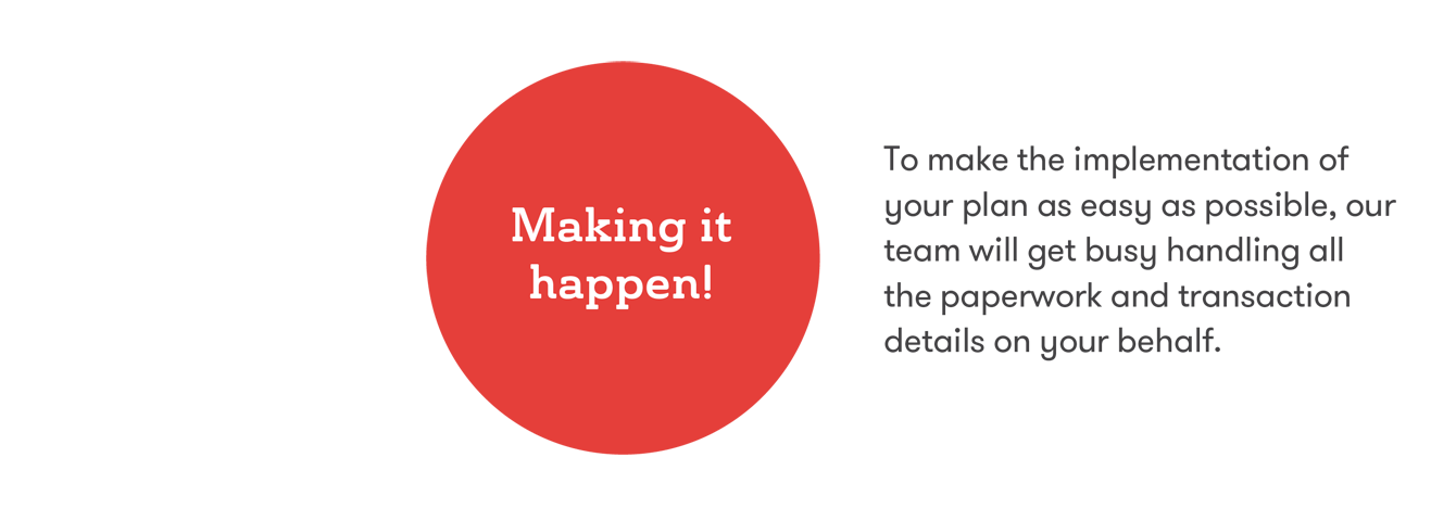 Making it Happen - To make the implementation of your plan as easy as possible, our team will get busy handling all the paperwork and transaction details on your behalf.